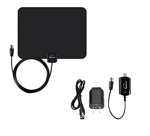 Digital Signal Indoor Leaf Flat TV Antenna For HDTV DTV HD VHF UHF FM AM FTA High Gain (50 Miles - Antenna Gain High Uhf