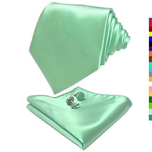 CANGRON Men Sage Green Tie Set Necktie with Pocket Square Cufflinks Giftbox LSC8QL