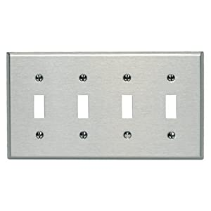Leviton 84012-40 4-Gang Toggle Device Switch Wallplate, Standard Size, Device Mount, Stainless Steel
