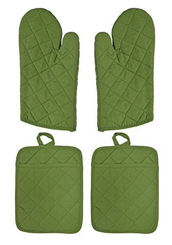 - Set of 4 Lime Green Pot Holders and Mitts! 2 Pot Holders 9