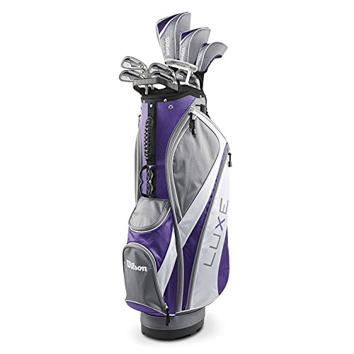 Wilson Ladies Luxe Full Set RH 10 Clubs Plus 1 Cart Bag, Purple/Gray New
