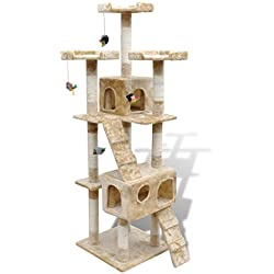 Festnight 67 Inch Cat Tree House with 2 Condos and Deluxe Scratching Post Stair Pet Play House Kitten Activity Tower Furniture(Beige)