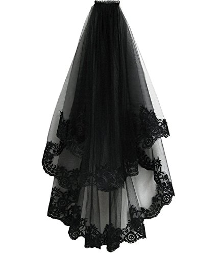 Pamor Black Lace Veil Creative Mantilla Cathedral Tulle Sheer Wedding Halloween Veil for Bride With Comb