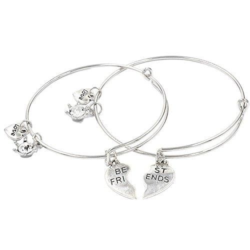 UHANGETH Best Friends, 2 Pcs Tassel Dangle Bracelet Crystal Charm Best Lovers Jewelry Birthday Gift (best friends)