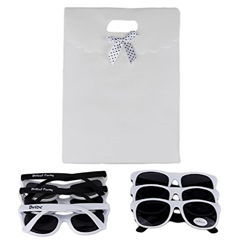 Set of 6 Fun and Sexy Party Sunglasses for Bachelorette and Wedding Parties - UV400 Lenses Provide 100% UVA and UVB Protection (Black and White). Includes white gift (Bulk Personalized Sunglasses)