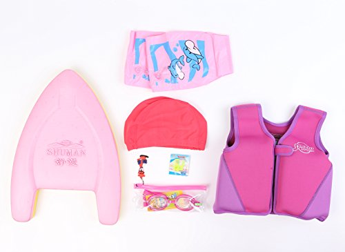 Titop Infant Baby Swimming Jacket Under 20 Lbs Children Swim Vest Purple Small &Swimming Plate & Swimming Cap & Swimming Glasses & Floatation Sleeves & Nose Protect 6-Set Package by Titop