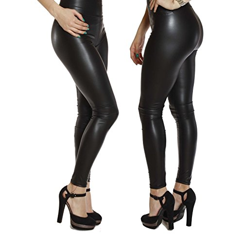 StarrY Womens Sexy Queen High Waist Faux Leather Leggings Thin Stretchy Skiny Slim Fit Wet Look Shiny Metallic Black (XL)