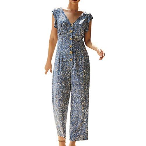 QIQIU Summer Womens Bohemian Button V-Neck Elegant Long Wide Leg Jumpsuit Casual Floral Printed Beach Rompers