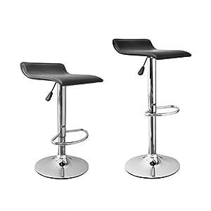 2pcs Negro Nuevo moderno ajustable taburetes de bar giratorio de piel sintética sillas B08