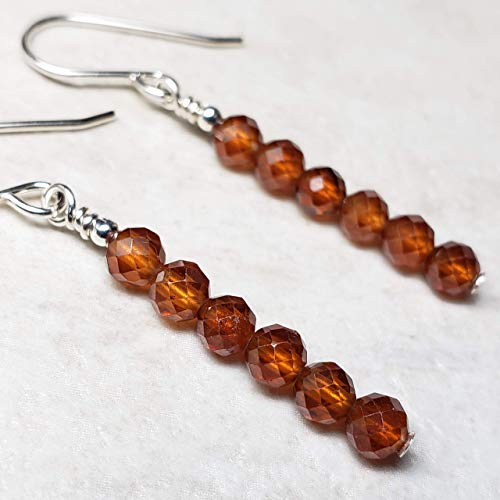 Hessonite Garnet Earrings - Sterling Silver Hessonite Garnet Earrings