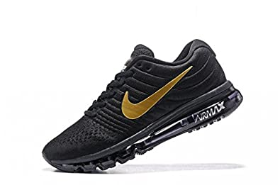 f59ff280b1 Image Unavailable. Image not available for. Colour: Nike Airmax 2017 Black  Gold Sports Running Shoes ...