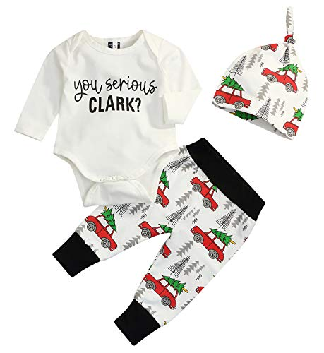 Christmas 3Pcs Set Cute Newborn Infant Baby Boy Girl Clothes Romper Tops +Long Pants Outfit (12-18 Months, White) -