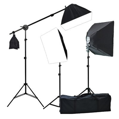 ePhoto Digital Photography Warm Film Video 3200K Lighting 2400 Watt THREE Softbox Lighting & Boom Hair 3200K Warm Light Kit H9004SB2 3200K from Hibo