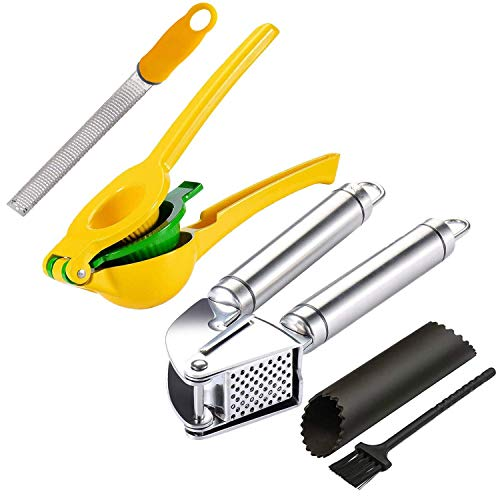 Garlic/Ginger Press Lemon/Lime Squeezer Zester Kitchen Tool Set,Citrus Press Juicer,Stainless Steel Mincer and Crusher with Silicone Roller Peeler,Zester Grater for Zesting Citrus and Grating Cheese
