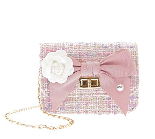 Little Who Boucle Bow Front Tassel Tweed Crossbody Purse | Pretend Play Purse | Free Hair Clip | Multi Color | One Size | for Kids, Toddler, Teenage Girls, Bolsa para Ninas (Pink) (Girls Pink Tweed)