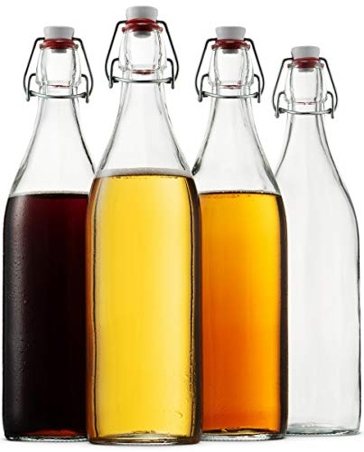 Glass Bottles Tall - Bormioli Rocco Giara Clear Glass Bottle With Stopper [Set of 4] Swing Top Bottles Great for Beverages, Oil, Vinegar | 33 3/4 oz