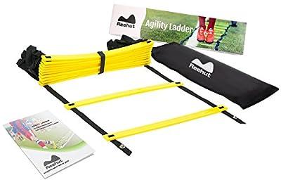 Reehut Agility Ladder w/ FREE USER E-BOOK + CARRY BAG - Speed Training Equipment For High Intensity Footwork (8 Rungs 12 Rungs 20 Rungs)