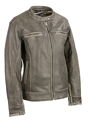 (Milwaukee Leather Women's Distressed Vented Scooter Jacket Dark Grey Large)