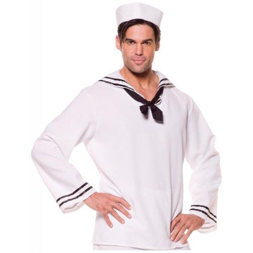 Underwraps Costumes Men's Sailor Costume - Shirt, White/Black, One Size -