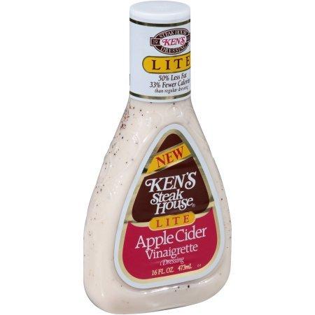 Kens Steak House Lite Apple Cider Vinaigrette Dressing, 16 Ounce (pack of 4)
