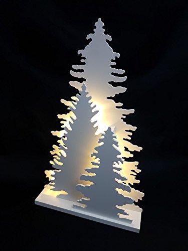 Holz Fensterdeko Tannenbaum - Deko Leuchte mit 15 LED - Weihnachtsdeko Tischdeko