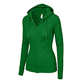OLLIE ARNES Women's Thermal Long Hoodie Zip Up Jacket Sweater Tops