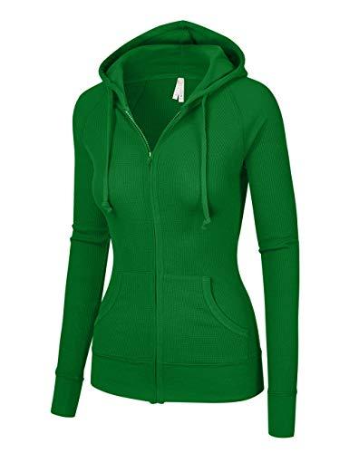 OLLIE ARNES Women's Thermal Long Hoodie Zip Up Jacket Sweater Tops Thermal_KGREEN L -