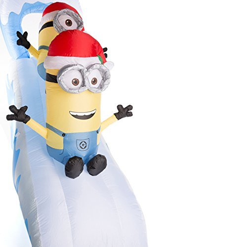 amazoncom airblown inflatable minions naughty or nice slide with kevin stuart and bob 10 feet wide garden outdoor