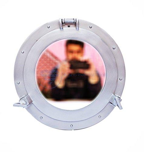Silver Deco Powder Coated Premium Nautical Aluminum Pirate's Ship's Porthole Clock Mirror (Bronze Lounge Porthole Mirror)