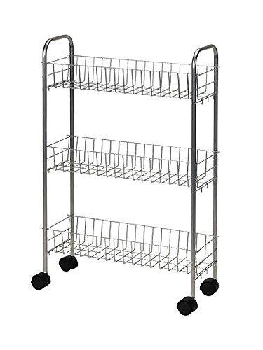 UPC 040071791476, Household Essentials 7011 Slim Line 3-Tier Metal Storage Cart - Satin Silver