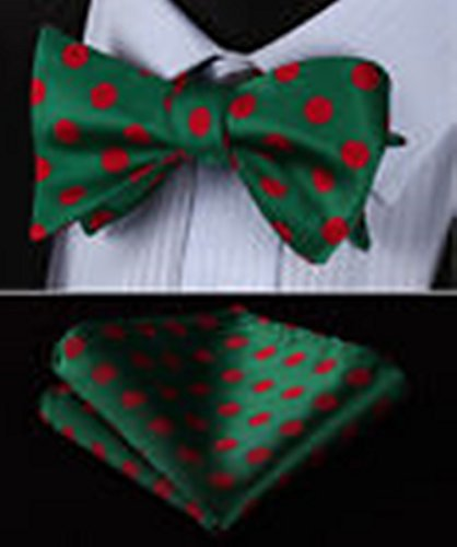 [Mondaily DL3001C Green Red Polka Dot Men Silk Classic Self Bow Tie Pocket Square set #PPTE4542] (Cats Musical Halloween Costumes)