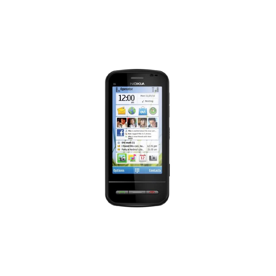 Nokia C6 Unlocked GSM Phone with Easy E mail Setup, Side Sliding Touchscreen, QWERTY, 5 MP Camera, and Free Ovi Maps Navigation (Black)