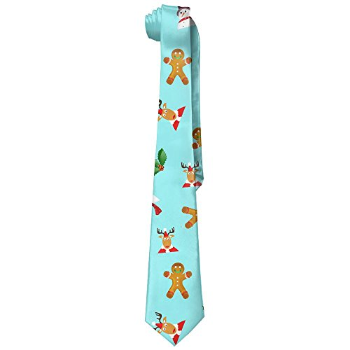 Ascot Bread (UYILP Men's Classic Casual Merry Christmas Gingerbread Snowman Skinny Silk Tie Necktie Fashion Gift Weddings Gentleman Groom Business)