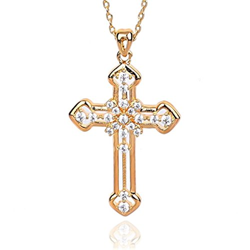 NickAngelo's Christian Cross Pendant Necklace Chain Elegant Religious Jewelry (gold-plated-copper, (Gold Logo 0.75' Pendant)