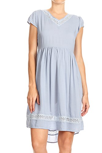 Anna-Kaci Casual High Low Boho Baby Doll Open Back Lace Trim Loose Dress Cap Sleeve,Blue,Small
