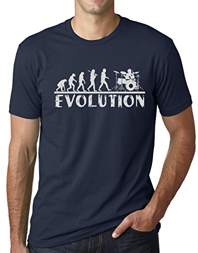 Think Out Loud Apparel Drummer Evolution Funny T-Shirt Musician Drums Humor Tee Navy Large ()