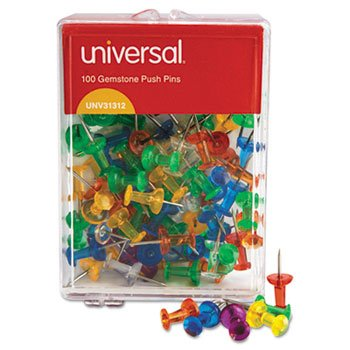 Universal 31312 3/8-Inch Gemstone Color Push Pins (100 per Pack) ()
