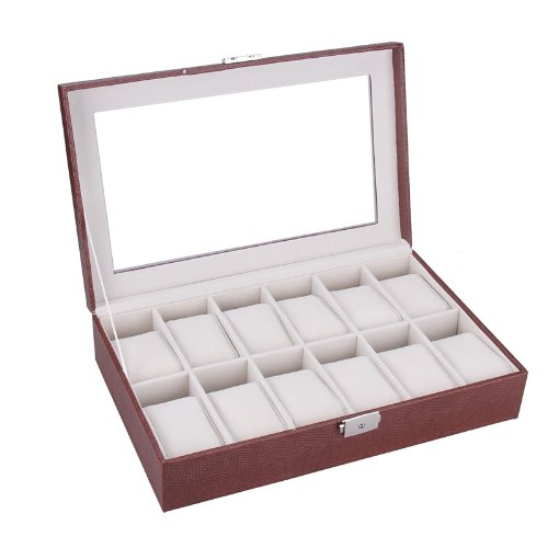 ROWLING Braun Uhrenkoffer Uhrenbox Schaukasten Uhrenkasten Uhrenvitrine für 12 Uhren BG-025