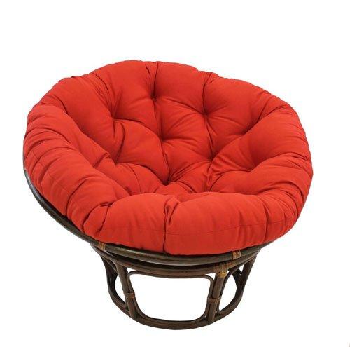 International Caravan 3312-TW-RR-IC Furniture Piece 42-inch Rattan Papasan Chair with Solid Twill Cushion by International Caravan