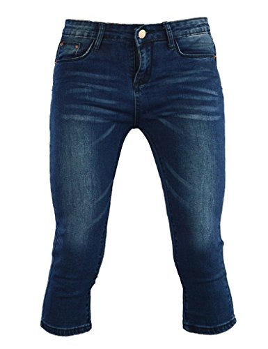 PHOENISING Women's 3/4 Length Cropped Denim Pants Fashion Comfy Fabric Jeans,Size 6-16