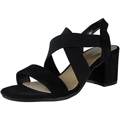 New Womens Ladies Elastic Strappy Mid Heel Faux Suede Party Sandals Shoes Size 3-8 Black