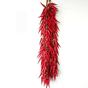 Transcend11 10 Bunch of Red Chili Fake Peppers Artificial Vegetables Food Faux Lifelike Plants Home Party Kitchen Decoration Hotel Store Display Model Photography Props Kids Prentend Play Toy 5
