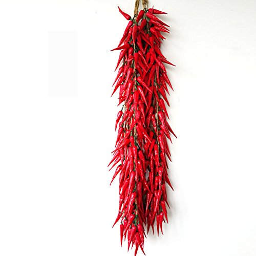 Transcend11 10 Bunch of Red Chili Fake Peppers Artificial Vegetables Food Faux Lifelike Plants Home Party Kitchen Decoration Hotel Store Display Model Photography Props Kids Prentend Play Toy ()