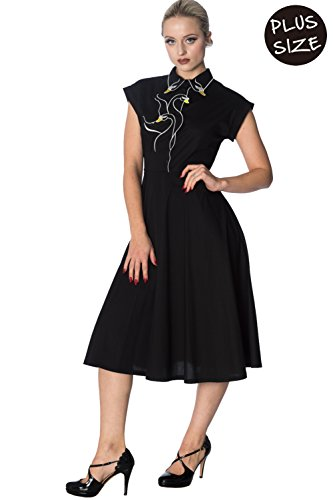Schwarz Langes Lake Plus Retro Kleid Swan Banned Vintage Size Y8wnz