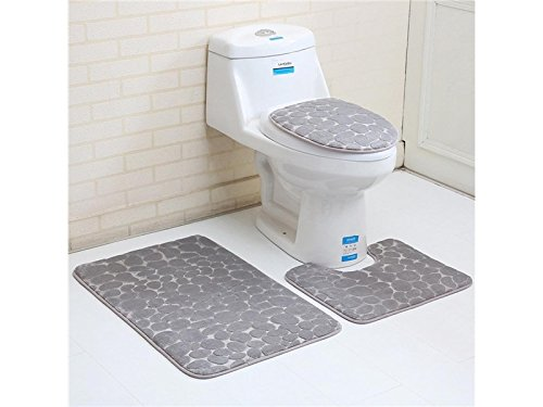Hezon Bathroom 3PCS Stone Pattern Toilet Seat Cover Carpet Floor Mat(Grey) EASY TO USE by Hezon