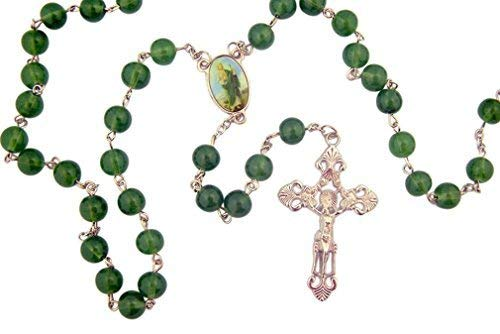 Religious Gifts Green Glass Prayer Beads Rosary with Saint Jude Centerpiece, 23 ()
