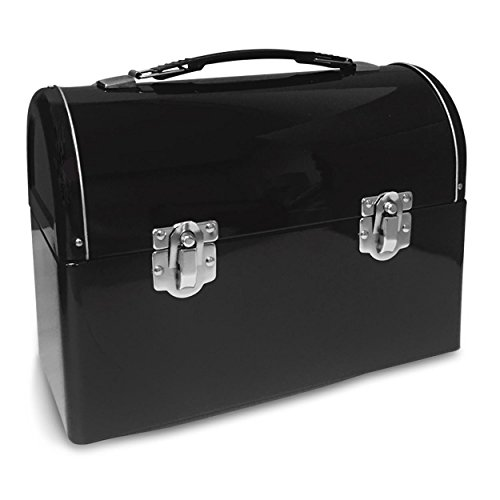 Plain Metal Dome Lunch Box - Black