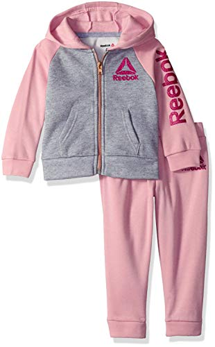 Reebok Girls' Toddler Spun Poly Fleece Color Block Hooded Jacket and Jog Pant, Powder Pink, 2T