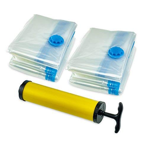 Premium Vacuum Storage Bags* (8pack 100 x 80CM ) Extra Thick Space Saver Bags* Thicker and Stronger Jumbo Vacuum Bag Storage * More bags in the pack than other Brands out there. 8 Jumbo bags + FREE Hand-Pump for Travel!Double-Zip Seal and T