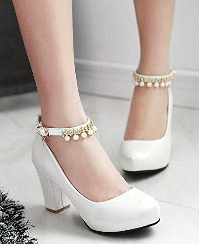 4d8189a94958 IDIFU Womens Sweet Beaded High Chunky Heel Ankle Strap Buckle Round Toe  Party Shoes White lvPhc